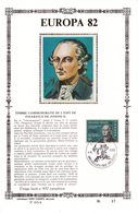17,213 Bel Sonstamp Sony Stamps PTT Soie 213 4 2049    Europa CEPT Joseph II CS - Carte Souvenir FDC 1982-5-1   Tirage O - Souvenir Cards
