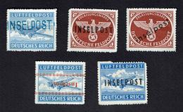1944 Reich 5 Inselpost Feldpost Luftfeldpost Kreta, Rhodos, Leros M# 6, 7B, 8B, 9, 11 MNG - Occupation 1938-45