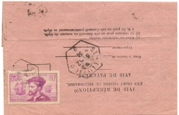AVIS DE RECEPTION AVEC 75c JACQUES CARTIER YT 296 12/1934 De St Etienne - Marcophilie (Lettres)