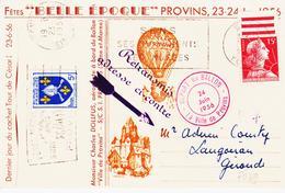 France, Fêtes De Provins En 1956, Ballon Commémoratif  Signature De A Suarnet  TB - Cachets Commémoratifs