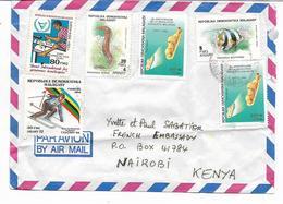 Marcopholie - - Lettre  PAR AVION  Vers NAIROBI  KENYA   6 Timbres  Voir 2 Scans - Madagascar (1960-...)