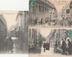 3 CPA:BESANÇON (25) RUE DES GRANGES INONDÉE JANVIER 1910,BARQUE DANS RUE DU LYCÉE,TRAMWAY GRANDE RUE ET HÔTEL DE VILLE - Besancon