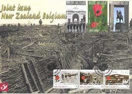 Belgium Belgique Belgien New Zealand 2008 Joint Souvenir Card 1st Day 1st World War Michel No. 3888-90 + 2490,92,93 - Gemeinschaftsausgaben
