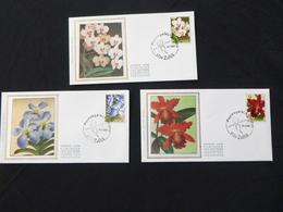"""BELG.1985 2163 2164 & 2165 FDC Zijde/soie ( Zellik ) : """" Gentse Floraliën VII / Floralies Gantoises VII """" - FDC"""
