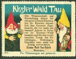"""Meerane Sachsen Muldental ~1920 """" Dr.Kawete Klosterwald-Tau Mit Zwerglein """" Vignette Cinderella Reklamemarke - Erinnophilie"""