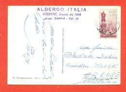 STORIA POSTALE-ISOLATI SU CARTOLINA POSTALE - MONTE SACCARELLO - VIOZENE - 1946-60: Marcofilia