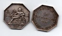 JETON ARGENT COMMISSAIRES EXPERTS DU GOUVERNEMENT LOI DE 27 JUILLET 1822 - Professionnels / De Société