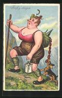 AK Übergewichtige Bergsteigerin Auf Dem Weg Zum Gipfel - Humor