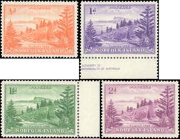 1956-1959 Norfolk Island #1-4, Complete Set(4), White Paper - Isla Norfolk