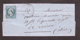 LAC - 30 Mars 1864 - T22 Hauterives (Drôme) Pour Voiron (Isère) - GC 1766 Sur N° 22 - Verso : Ambulant N, T15 - 1849-1876: Klassik