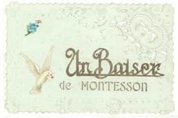 Cpa Un Baiser De Montesson ( Fantaisie Gaufrée, Bords Dentellés ) - Montesson