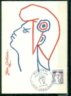 CM-Carte Maximum Card # 1968-REUNION-CFA (Yvert.N° 349A) Marianne De Cocteau - Obl. PJ Saint-Denis - Isola Di Rèunion (1852-1975)