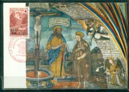 CM-Carte Maximum Card # 1970-REUNION-CFA (Yvert.N° 392) Croix Rouge, Fresque De La Chapelle De Dissay ,Saint-Pierre - Reunion Island (1852-1975)
