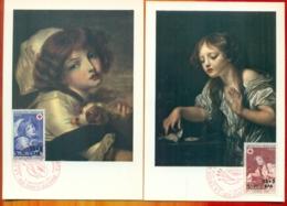 CM-Carte Maximum Card  #1971-REUNION-CFA (Yvert.N° 404-405) Croix Rouge, Paintings  By Greuze ,St-Denis  ( 2 CM) - Reunion Island (1852-1975)