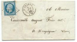 N° 14 BLEU NAPOLEON SUR LETTRE / ST TROPEZ VAR POUR DRAGUIGNAN / 1 OCT 1859 - Marcophilie (Lettres)