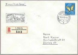 Schweiz Suisse 1954: Machaon Zu 157 Mi 606 Yv 557 O ZÜRCHER SECHSELÄUTEN 18.IV.55 AUTOMOBIL-POSTBUREAU - Lettres & Documents