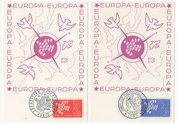 Carte Maximum 1961 - Europa 1961  - YT 1309 Et 1310 -  Paris Et Lens - Cartes-Maximum