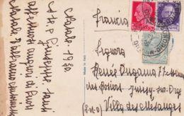 1930 LEONI C.5 + IMPER. C.20 E 50 Su Cartolina Sondrio (15.12) Per La Francia - Regiments