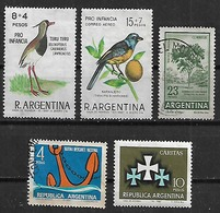 1966 Argentina Fauna Pajaros-quebracho Colorado-marina Mercante-caritas 5v. - Argentina
