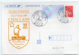 France Entier N° 3083 CP1 Y. Et T. Cachet Commémoratif Vendée Challans Du 16 Et 17/10/1999 - Entiers Postaux