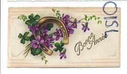 Mignonnette De Vœux. Fer à Cheval, Violettes Et Trèfles. Dorée. - Nouvel An
