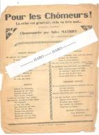 """2 Chansons De Jules MATHIEU  De GAGNIERES ( Gard) """" Pour Les Chômeurs """" Et """" La Valse Dure """" 1931 - 1939-45"""