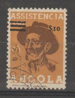 ANGOLA IMPOSTO POSTAL CE AFINSA 10 - USADO - TRIPLA SOBRECARGA DE BARRAS (NÃO CATALOGADO) - Angola
