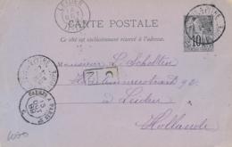 """Entier CP ALPHÉE DUBOIS 10c Obl """" POINTE A PITRE GUADELOUPE 27/9/89 """" > LEIDEN Hollande- Ambulant En Entrée à Calais - Guadeloupe (1884-1947)"""