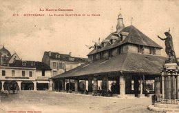 16437     MONTREJEAU  LA STATUE ST JEAN ET LA HALLE - Montréjeau