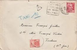 Yvert Taxe 86 Lettre Cachet Flamme Daguin FONT ROMEU Pyrénées Orientales 1950 Pout Toulouse Haute Garonne - Impuestos