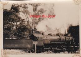 PHOTO ANCIENNE  LOCOMOTIVE A VAPEUR TRAIN CHEMIN DE FER ( DROUÉ LOIR ET CHER ) - Trains