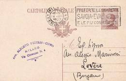 ITALIA - REGNO - MILANO - INTERO POSTALE C.40 - VIAGGIATO  PER LOVERE( BERGAMO) - 1900-44 Vittorio Emanuele III