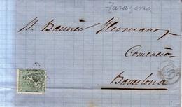 Año 1873 Edifil 133 10c Alegoria  Carta  Matasellos Rombo Tarazona Zaragoza Membrete Francisco Veraton - 1873 1. Republik