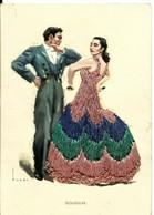CPA Fantaisie , Danseuse Et Danseur Séguidillas, Espagnole , Brodée Plusieurs Couleurs - Bordados