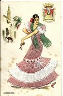CPA Fantaisie , Danseuse Flamenco , Brodée Plusieurs Couleurs - Bordados