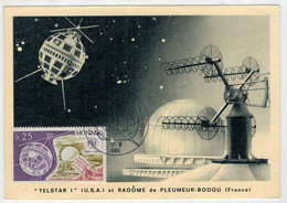 "MONACO   1965    ""TELSTAR I""   ET  RADOME   DE  PLEUMEUR -BADOU  (FRANCIA)           (USATO) - Kosovo"
