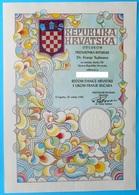 "CROATIA Document Decree Of "" Order Of The Croatian Danica With Figure Franjo Bucar "" - Kroatien Croatie Croazia Croacia - Jetons En Medailles"