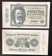 2019 Matej Gabris 50 Billionen Mark Weimar Republik Friedrich Nietzsche UNC SPECIMEN ESSAY Tirage Limité - Specimen