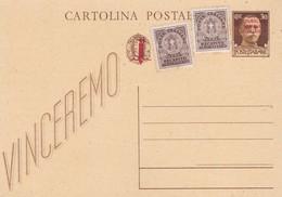 ITALIA -  REPUBBLICA SOCIALE -INTERO POSTALE C.30 VINCEREMO  CON F.LLI AGGIUNTA - NON VIAGGIATO - 4. 1944-45 Repubblica Sociale