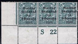 Ireland 1922 Dollard Rialtas Black Overprint 4d Control S22 Perf Corner Strip Of Three Mint - 1922 Governo Provvisorio
