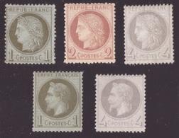 France, Cinq Timbres De Première Période Neufs   -CS05 - 1871-1875 Ceres