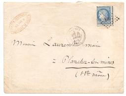 France Lettre De Belfort PC 420 Pour Plancher Les Mines Haute Saone Ceres Avec Piquage A Cheval - 1849-1876: Periodo Clásico