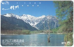 JAPAN L-877 Magnetic NTT [270-028-1987.4.20] - Landscape, Lake, Mountains - Used - Japan