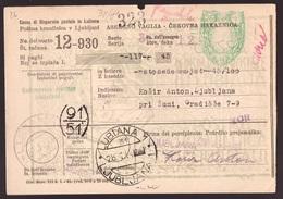 Lubiana Occupazione Italiana, Ricevuta Vaglia Con Coppia 50 C. Segnatasse     -CR94 - Occupation 2ème Guerre Mond. (Italie)