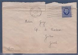 Enveloppe De Wimbledon à Bordeaux 15 Jan 1937, Timbre A Des Plis - 1902-1951 (Könige)