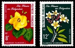 POLYNESIE 1977 - Yv. PA 126 Et 127 **   Cote= 4,50 EUR - Fleurs Hibiscus Et Plumeria  ..Réf.POL23652 - Aéreo