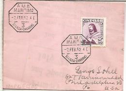 CC   A USA 1852 CON MATASELLOS AMBULANTE MARITIMO SEVILLA CANARIAS 3 - 1931-Aujourd'hui: II. République - ....Juan Carlos I