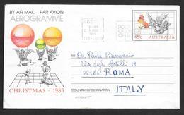 AUSTRALIA AEROGRAMME 1985 HOBART TO ROMA - Aerogrammes