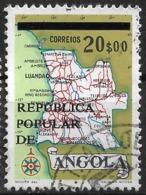 Angola – 1977 Map Surcharged 20$ Used Stamp - Angola