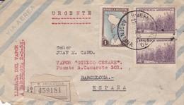 "ARGENTINE ENVELOPE CIRCULEE A ""VAPOR GIULIO CESARE"" BARCELONA ESPAGNE, ANNEE 1952 PAR AVION RECOMMANDE URGENTE -LILHU - Argentina"